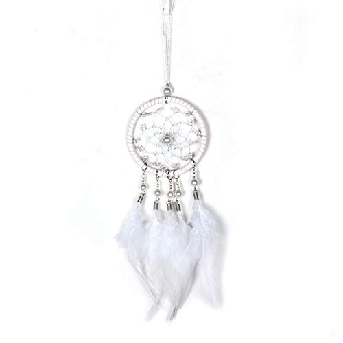 Malicosmile Dream Catchers for Cars Rear View Mirror, Small White Featherl Dream Catcher Wall Hanging Decorations Car Charm Ornament