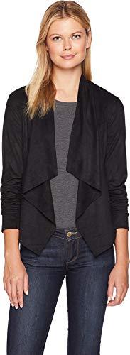 (Liverpool Women's Draped Jacket in Perforated Microsuede Black Preforated Medium)