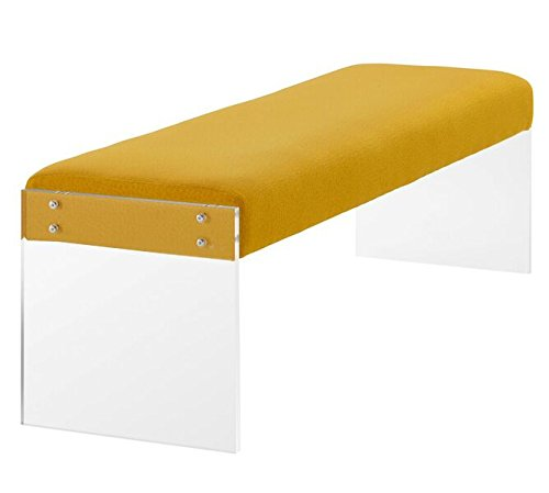 TOV Furniture The Sunshine Collection Modern Style Pebbled Texture Velvet Upholstered Bench with Acrylic Legs, Yellow