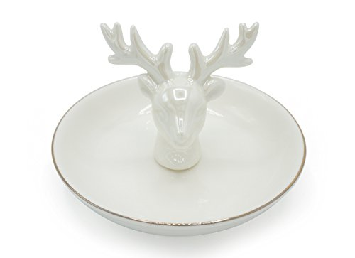 Exembe Pearl white elk ring holder jewelry dish antlers trinket tray plate 4