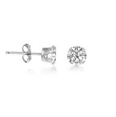 Crookston Genuine White Topaz Gemstone .925 Sterling Silver Round Stud Earrings - April | Model ERRNGS - 15174 | 5mm - Top Seller