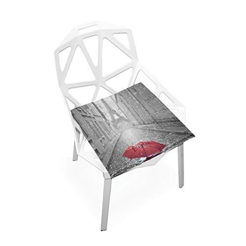 Feim-AO Paris Eiffel Tower Red Umbrella Square Stool Chair Seat Cushion Pad Office Dining Chair Floor Cushion Pad 16x16 inch ()