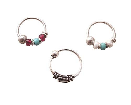 - Set 8mm Nose Ring Sterling Silver, Silver 8mm Helix, Cartilage, Beaded Hoops, Bali Hoops, Spiral Hoops
