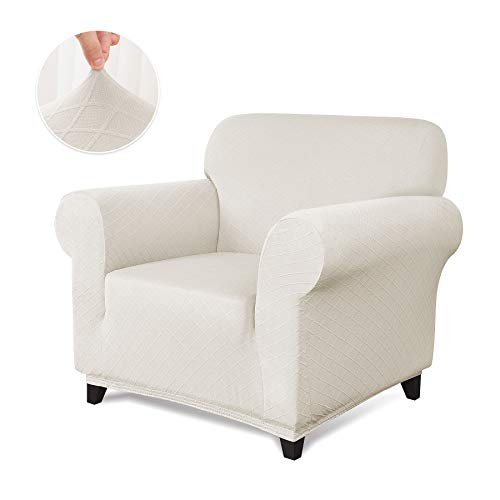 CHUN YI 1-Piece Stretch Polyester and Spandex Rhombus Jacquard Sofa Armchair Slipcovers Durable Soft Sofa Cover High Elastic Sofa Slipcover Easy Fitted 1 Seat Couch Cover (Chair, Cream White) (Armchairs For Slipcovers)