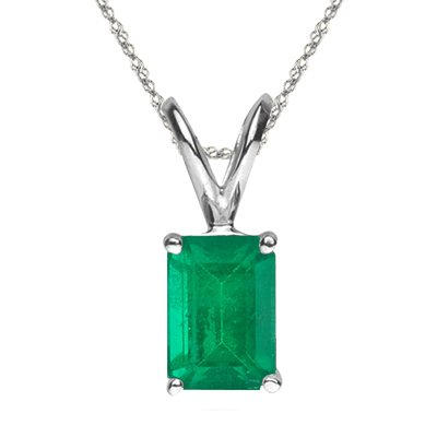 - 1.00 Ct of 7x5 mm AA Emerald Cut Natural Emerald Solitaire Pendant in Platinum
