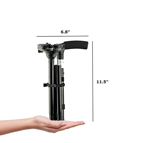 Kitchen Krush Travel Adjustable Folding Canes and Walking Sticks for Men and Women with Led Light and Cushion Handle for Arthritis Seniors Disabled and Elderly Best Mobility Aids Cane by Kitchen Krush (Image #5)
