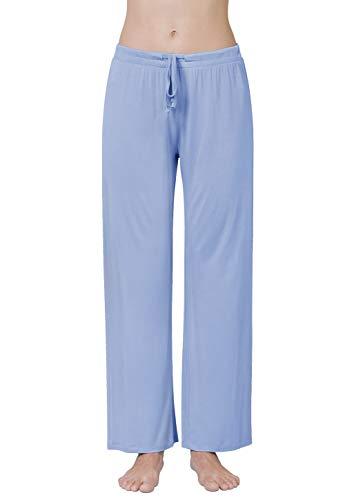 Air Curvey Womens Pajama Pants Wide Leg Lounge Pants Blue L
