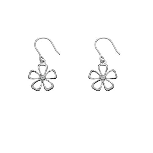 Rhodium Flower (Solid Sterling Silver Rhodium Plated Daisy Flower Dangle Earrings)
