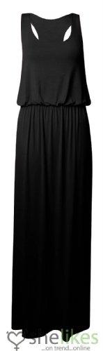 [Womens Maxi Dress Ladies Jersey Toga Maxi Racer Back Long Vest Maxi Dress Skirt UK 12-14 / AUS 12-14 / US 8-10] (Black Toga Dress)
