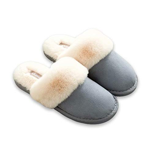 House Clog on Scuff Real Slippers Outdoor Slip amp; Lining Fur OSHOW Indoor Blue Shoes XwnpBq8YX