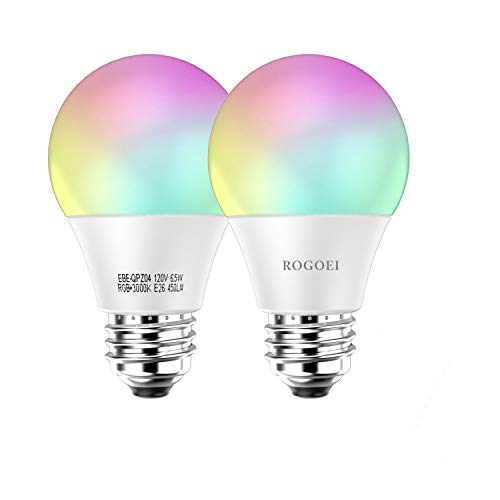 ROGOEI Smart WiFi Led Light Bulbs 6.5W RGB&W Warm White(3000K), E26 Dimmable Multi-Color Led,No Hub Required,Compatible with Amazon Alexa & Google Assistant & IFTTT (2PC Pack)