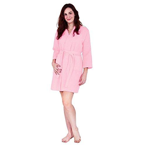 Lightweight Knee-Length Waffle Kimono Robe, Bridesmaids and Spa Bathrobe (One Size - Large, ()