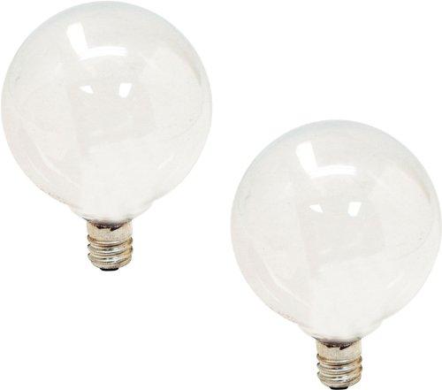 GE Lighting 44414 40-watt 290-Lumen Candelabra Base G16.5 Globe Bulb, Soft White, 2-Pack