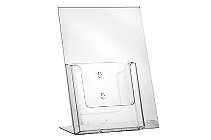 L Soporte de plexiglás acrílico cristal DIN A3 A4 A5 A6 expositor con compartimento para tarjeta