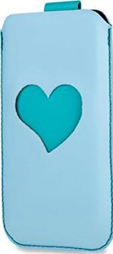 SOX Heart Me Light Genuine Leather Mobile Phone Pouch for iPhone/Samsung and more, Large, Blue/Emera