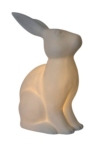 (Simple Designs LT3058-WHT White Porcelain Animal Shaped Table Lamp, Bunny Rabbit)