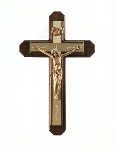 Pastoral Sick Call Set Walnut Wood with Gold Tone Metallic Inlay Cross Crucifix, 13 Inch