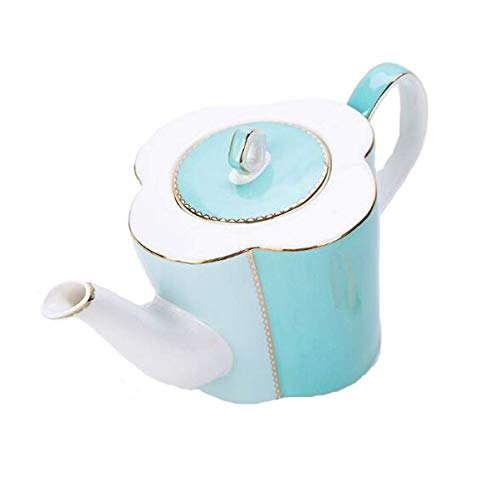 - Xiaozou Cup and saucer set image ceramic teapot, floral vintage clover teapot, (Color : Blue)