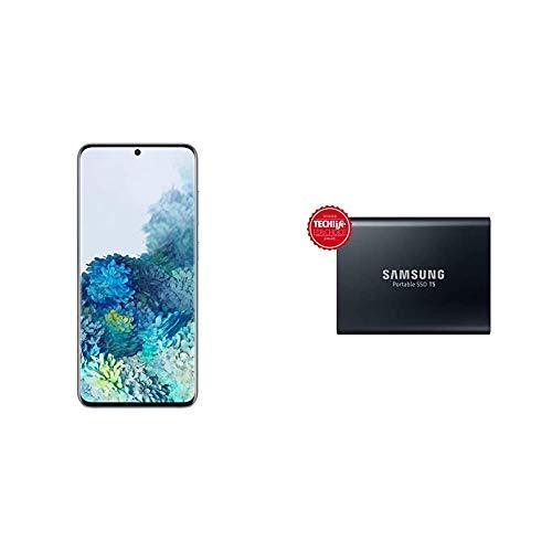 Samsung Galaxy S20 (Cloud Blue, 8GB RAM, 128GB Storage) -Samsung T5 1TB USB 3.1 Gen 2 (10Gbps, Type-C) External Solid State Drive (Portable SSD) Deep Black (MU-PA1T0B)