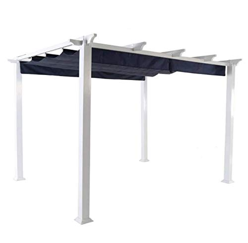 More Sweet Deals Steel and Aluminum Pergola Gazeebo with Adjustable Gliding Canopy 10' x 12' White-Blue by More Sweet Deals