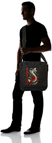 Borsa Tracolla Snake and Rose Tattoo (Black)