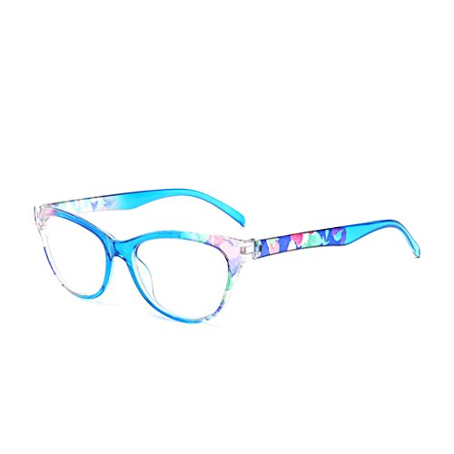 chuwa Reading Glasses Women Cat Eye Glasses Vintage Reader Fashion Flower Print Blue Light Blocking Eyeglasses +1.0-+4.0 (Big Fashion Lesebrille)