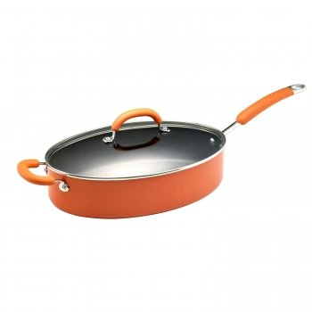 Rachel Ray 19646 5 Quart Covered Oval Saute with Helper Handle - Orange