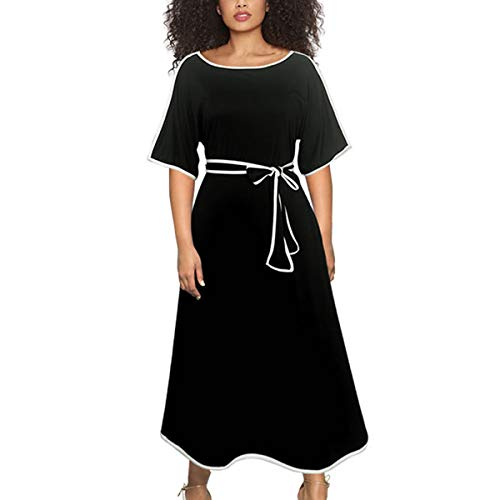 Ruby Herty Fork Skirt Splicing Dresses Round Neck Elegant Horn Sleeves Pencil Robe (Color : Black, Size : XL)