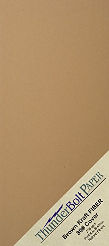 """100 Brown Kraft Fiber 80# Cover Paper Sheets - 4"""" X 9"""" (4X9 Inches) #10 Envelope Insert Size - Rich Earthy Color with Natural Fibers - 80lb/pound Cardstock - Smooth Finish"""