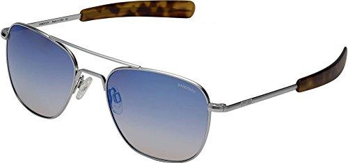 Randolph Engineering Aviator Matte Chrome Sunglasses | Oasis Metallic Nylon Ar Bayonet 55MM - Sunglasses Coating Ar On