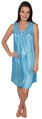 (Beverly Rock Women's Tricot Long Silk Satin Shiny Sleeveless Nightgown XUF035 Sky Blue 2X )