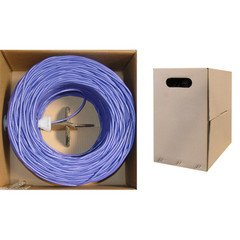 Pullbox Unshielded Twisted Pair QualConnectTM Bulk Cat5e Purple Ethernet Cable UTP 1000 ft Solid