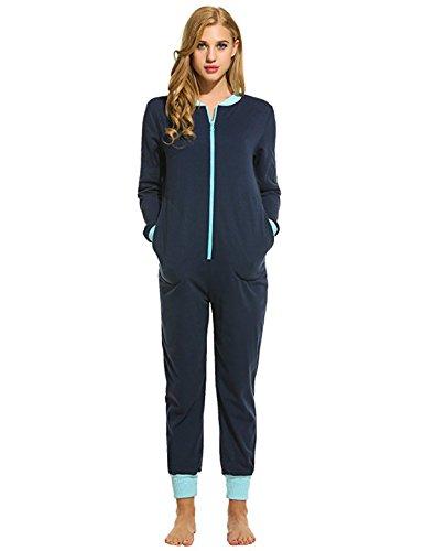 Sweetnight Women Long Sleeve Sleepwear V Neck Nightwear Pajamas Onesies Playsuit For Adults (M, Nave Blue) (Drop Seat)