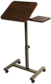 "Seville Classics Tilting Sit-stand Computer Desk Cart With Mouse Pad Table, Height-adjustable From 27.5"" To 40"" H, Walnut 0"