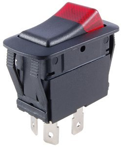 NTE Electronics 54-231W Waterproof Miniature Illuminated Rocker Switch, SPST Circuit, ON-NONE-OFF Action, PC Red Led Actuator, 0.250