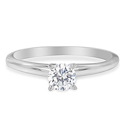 14KT White Gold Round-cut GIA Certified Diamond Solitaire Engagement Ring (2 cttw, J Color, I1 Clarity)