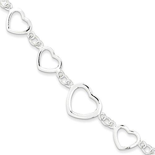 (.925 Sterling Silver Polished Heart Fancy Link Bracelet 7.50 inches)