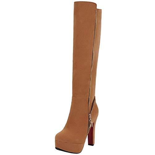 Vitalo Women High Chunky Heel Knee High Platform Zip Up Wide Calf Boots Brown