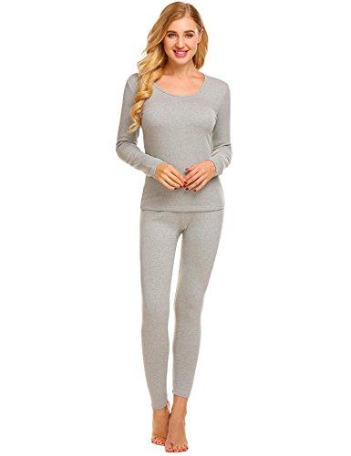 (Ekouaer Women's Long Thermal Underwear Fleece Lined Winter Base Layering Set)