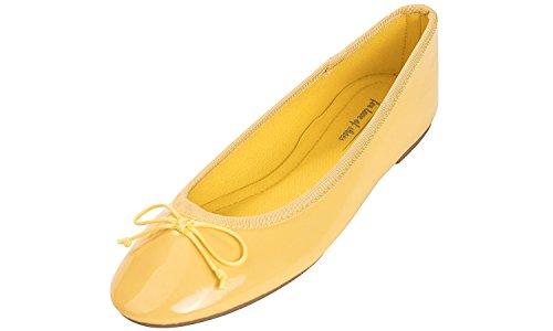 (Feversole Women's Macaroon Colorful Memory Foam Cushion Insock Patent Ballet Flat Lemon Size 7.5 M US)