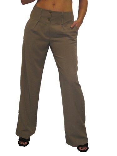 (1272) Ladies Wide Leg Smart City Pants Light Brown (18)