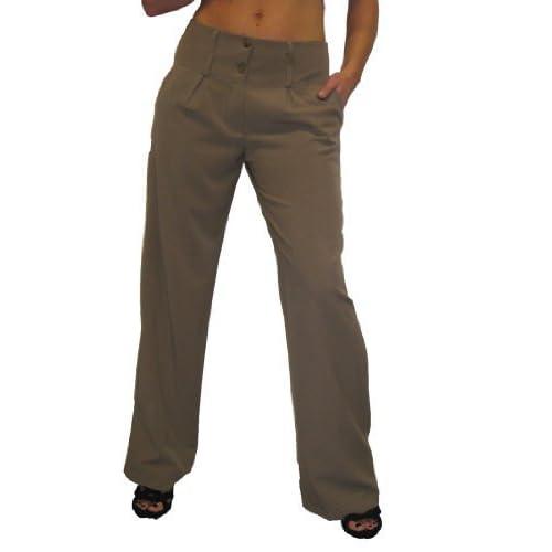 Wholesale (1272) Ladies Wide Leg Smart City Pants Light Brown (18) for cheap
