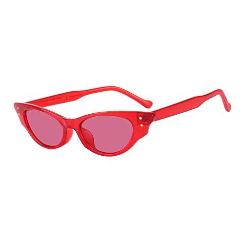 WOWSUN Vintage Cute Cat Eye Superlight Sunglasses for Women Designer Fashion Eyeglasses - Sunglasses Red Star