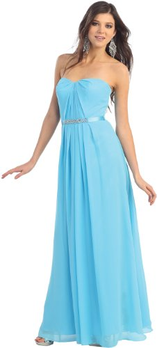 Strapless Chiffon Dress Prom Long Gown #963 (6, Turquoise)