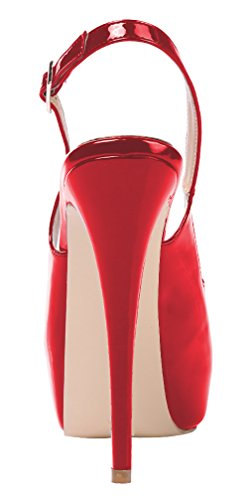 AOOAR Womens Slingback High Heels Party Pumps With Hidden Platform Red Mirror Patent Cd5NHAO