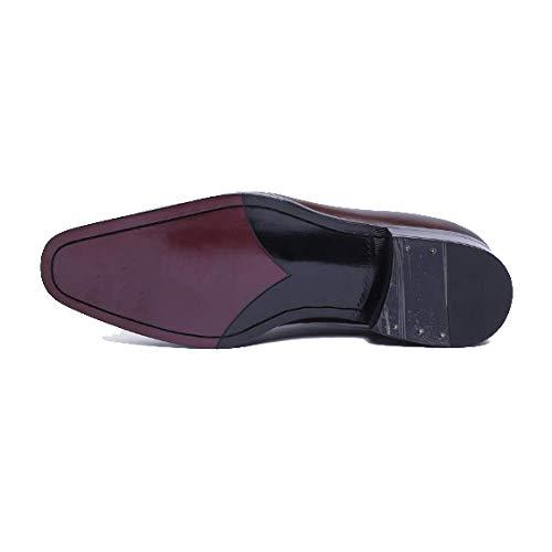 Goodyear Scarpe in Brownred da Testa Lavoro Uomo Indossabili Traspiranti Piccola da Europea Stringate Comode Quadrata Scarpe Versione Pelle YnT0YxF