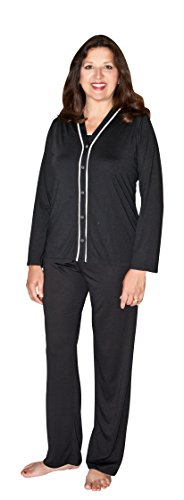 JILLIAN 3 PC. PAJAMA SET(Large, Black)