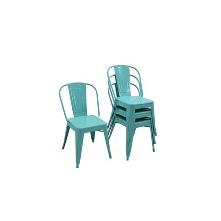 BHG 4 Pack Camrose Industrial Cafe Chair, Teal