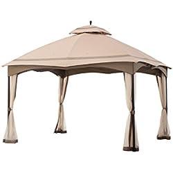 Sunjoy 12' x 10' Cabin-Style Soft Top Gazebo with Mosquito Netting