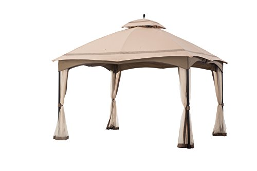 Gazebo Tiered Roof - Sunjoy 12' x 10' Cabin-Style Soft Top Gazebo with Mosquito Netting